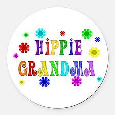 hippie_grandma01.png Round Car Magnet