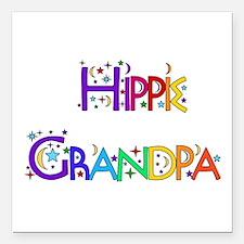 "hippie_grandpa01.png Square Car Magnet 3"" x 3"""