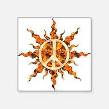 """Flaming Peace Sun Square Sticker 3"""" x 3"""""""