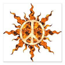 "Flaming Peace Sun Square Car Magnet 3"" x 3"""