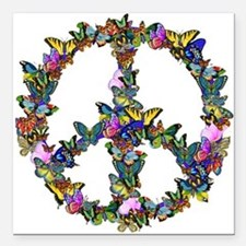 "Butterflies Peace Sign Square Car Magnet 3"" x 3"""