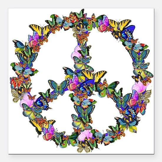 "Butterflies Peace Sign Square Car Magnet 3"" x 3"""