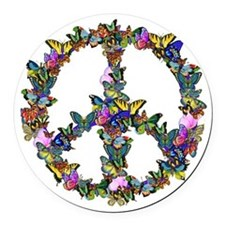 Butterflies Peace Sign Round Car Magnet