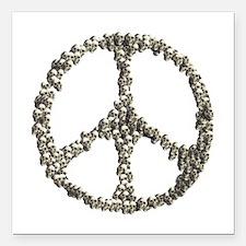 """Skulls Peace Sign Square Car Magnet 3"""" X 3&qu"""