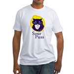 Funny Sour Puss Cat Fitted T-Shirt