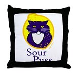 Funny Sour Puss Cat Throw Pillow
