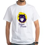 Funny Sour Puss Cat White T-Shirt