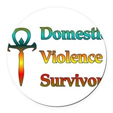 domesticviolence01.png Round Car Magnet