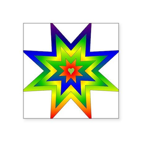 "rainbow_star02.png Square Sticker 3"" x 3"""