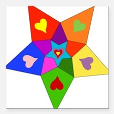 """rainbow_star01.png Square Car Magnet 3"""" x 3"""""""