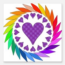 """rainbow_hearts01.png Square Car Magnet 3"""" x 3"""""""