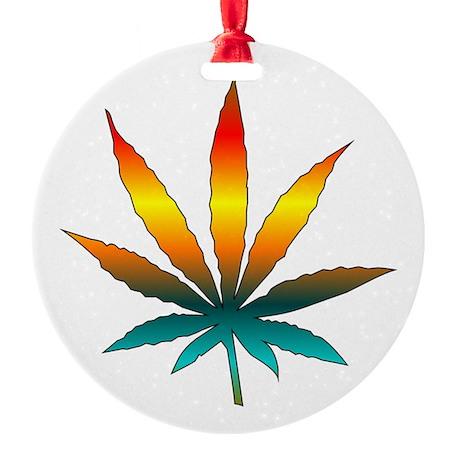 Rainbow Marijuana Leaf Round Ornament