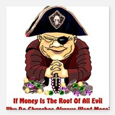 "pirate_churches01.png Square Car Magnet 3"" x 3"""