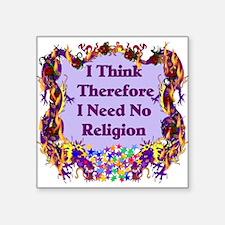 "3-atheist01.png Square Sticker 3"" x 3"""