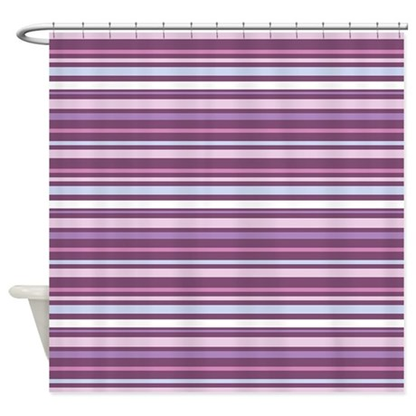 Purple And Pink Stripes Shower Curtain By ClementineDigitals