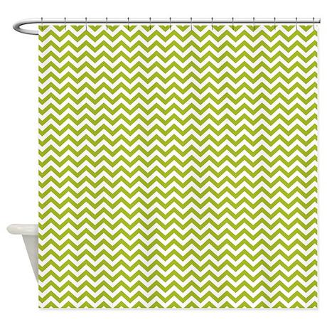 Green Chevron Shower Curtain By Clementinedigitals
