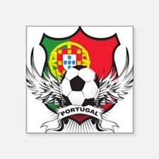 "portugal soccer(blk).png Square Sticker 3"" x 3"""