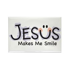 Jesus Makes Me Smile: Rectangle Magnet