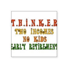 "thinker01.png Square Sticker 3"" x 3"""
