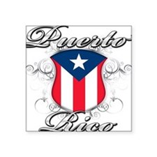 "PR shield.png Square Sticker 3"" x 3"""