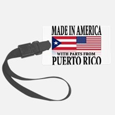 made in america w-Puerto rican parts.png Luggage Tag