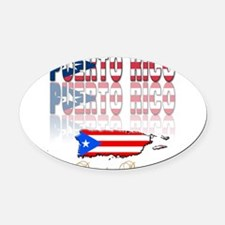 puerto rico(blk).png Oval Car Magnet