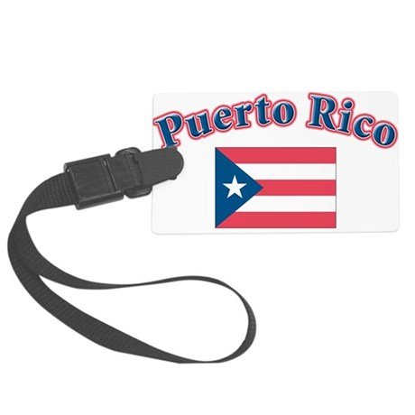 Puerto rico flag(blk).png Large Luggage Tag