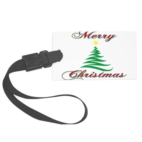 Merry Christmas tree(blk).png Large Luggage Tag