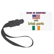 Made in America with Irish parts(white).png Luggage Tag