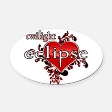 eclipse(white).png Oval Car Magnet