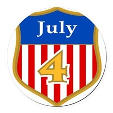 4th of July Round Car Magnet