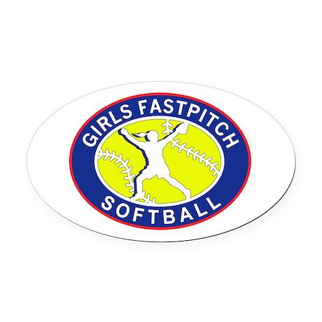 Girls Softball Oval Car Magnet