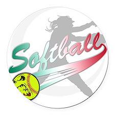 Girls Softball Round Car Magnet