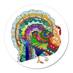 Patchwork Thanksgiving Turkey Round Car Magnet