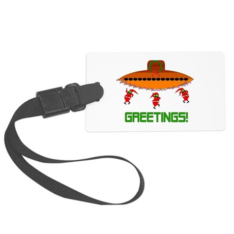 Space Aliens Christmas Large Luggage Tag