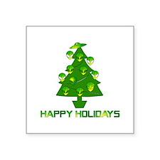 "Alien Christmas Tree Square Sticker 3"" x 3"""