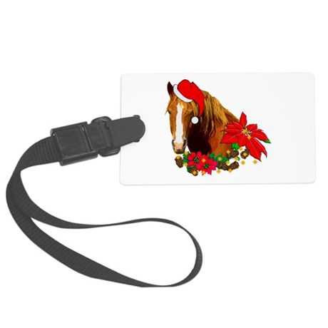 christmas_horse01.png Large Luggage Tag