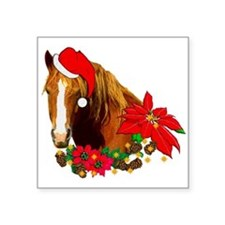 "christmas_horse01.png Square Sticker 3"" x 3"""