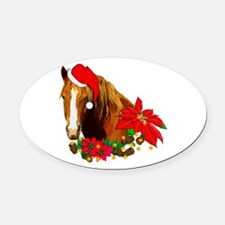 christmas_horse01.png Oval Car Magnet