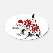 christmas_rat01.png Oval Car Magnet