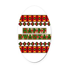 happy_kwanzaa03.png Oval Car Magnet