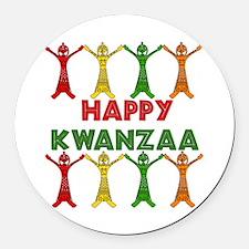 happy_kwanzaa01.png Round Car Magnet