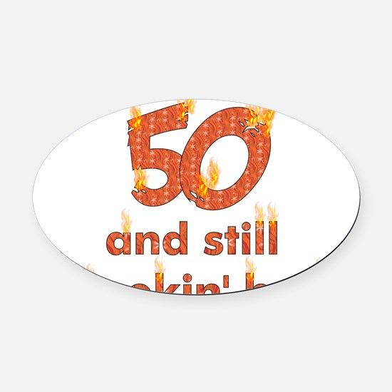 50th_birthday01.png Oval Car Magnet