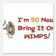 """50th_birthday01.png Square Car Magnet 3"""" x 3"""""""