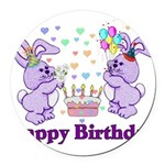 birthdaybunny01.png Round Car Magnet
