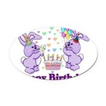 birthdaybunny01.png Oval Car Magnet
