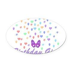 birthdaygirl01.png Oval Car Magnet