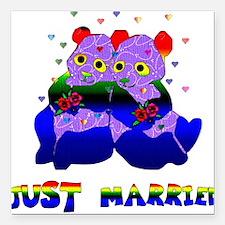 "gay_wedding01.png Square Car Magnet 3"" x 3"""