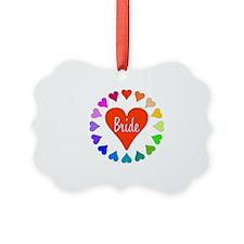 Rainbow Hearts Bride Ornament