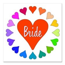 "Rainbow Hearts Bride Square Car Magnet 3"" x 3"""